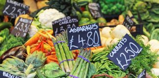 a colourful selection of fresh fruit and vegetables at market