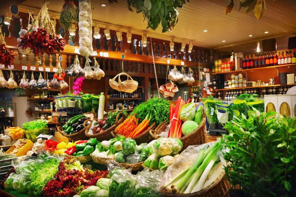 inside of a farm shop displaying fresh produce