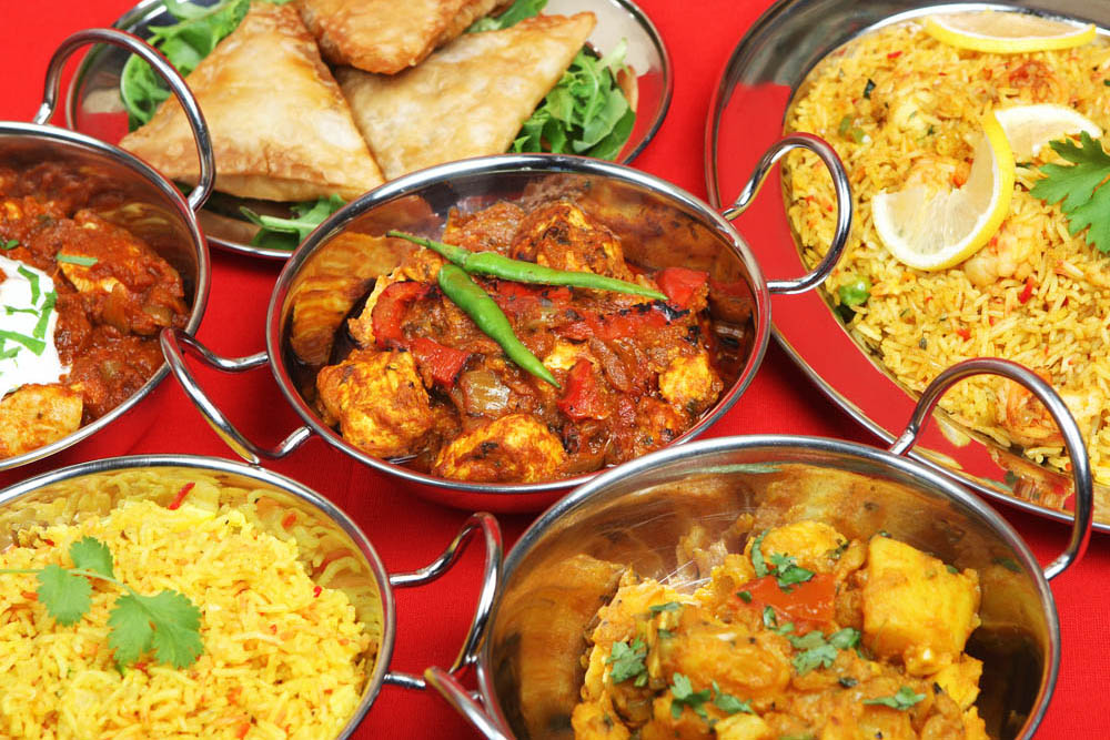 a selection of Indian food dishes