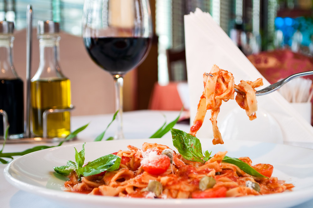 Italian pasta dish with red wine