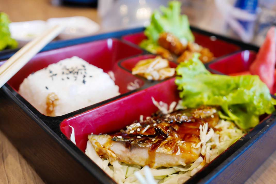 close up of a Japanese bento food box