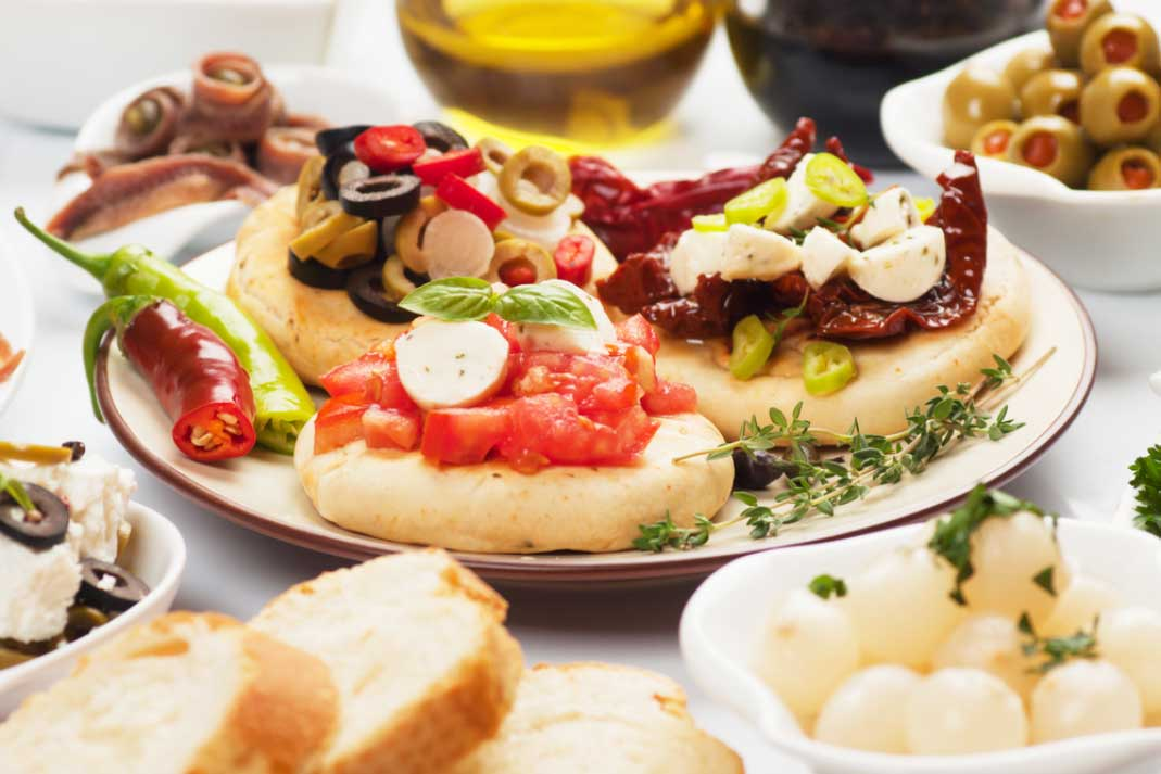 selection of spanish tapas in bowls