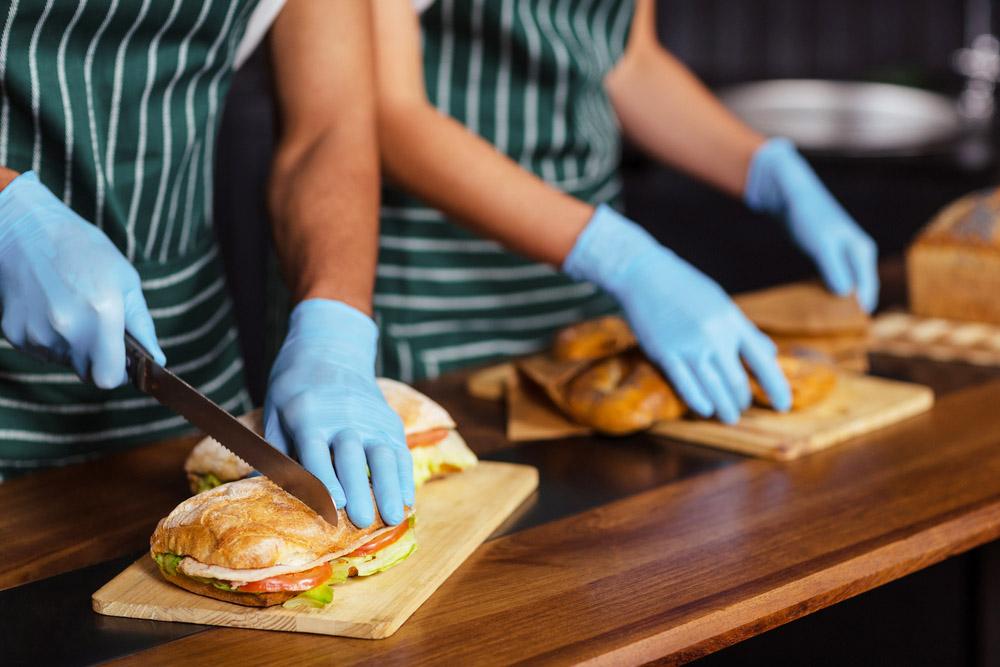 filled ciabattas being prepared in sandwich shop