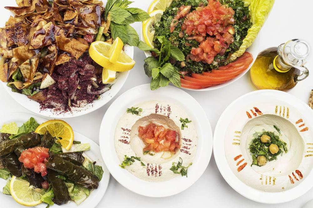 lebanese mezzo dishes presented on plates