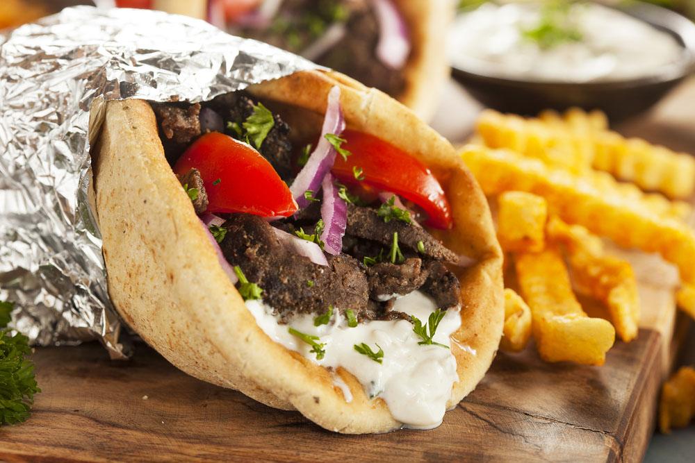 close up of a lebanese shawarma wrap