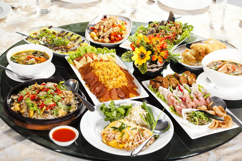a Thai food platter