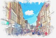 colourful digital sketch of banbury high street