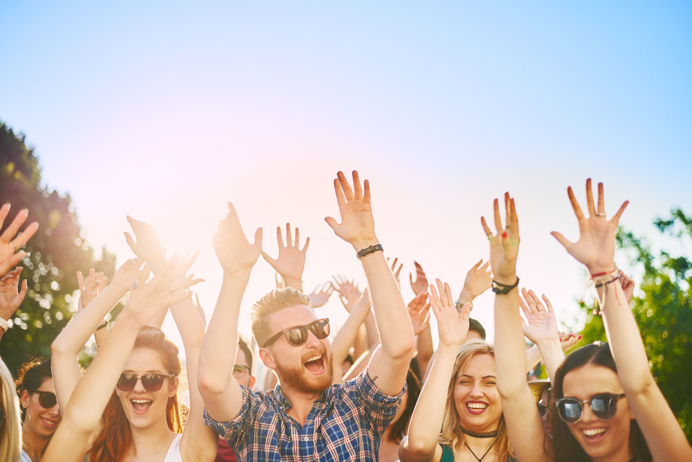 crowd with their hands in the air at a festival