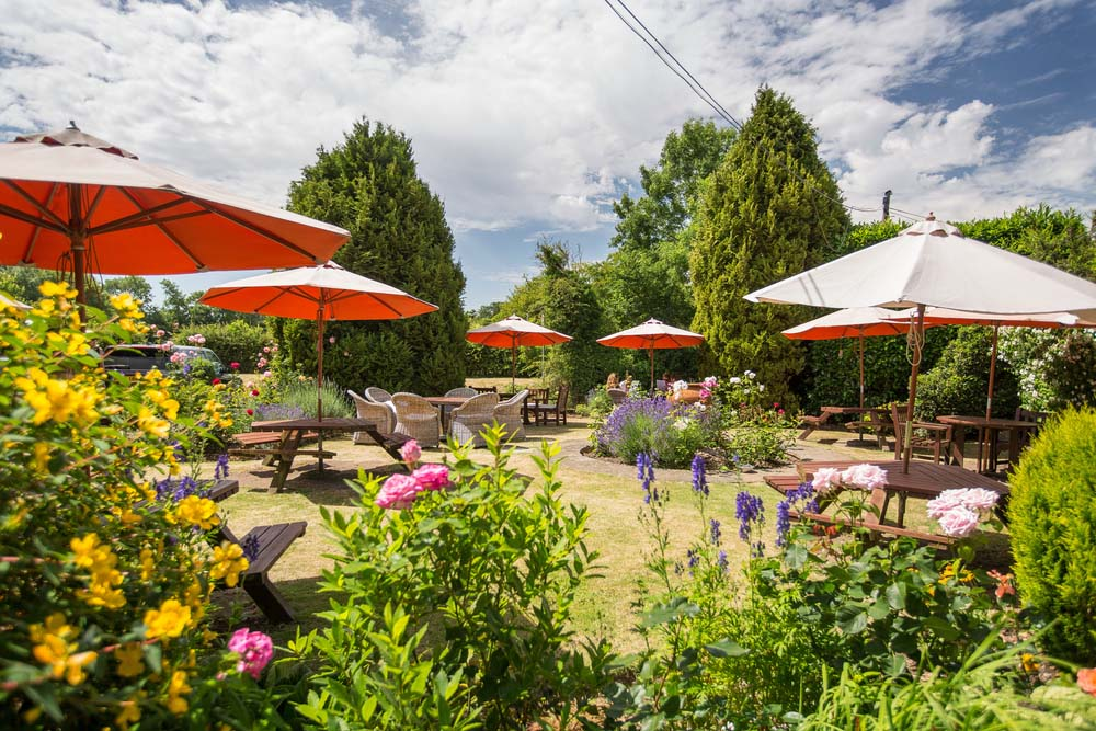 rear pub garden in the summer with benches and colourful flower borders