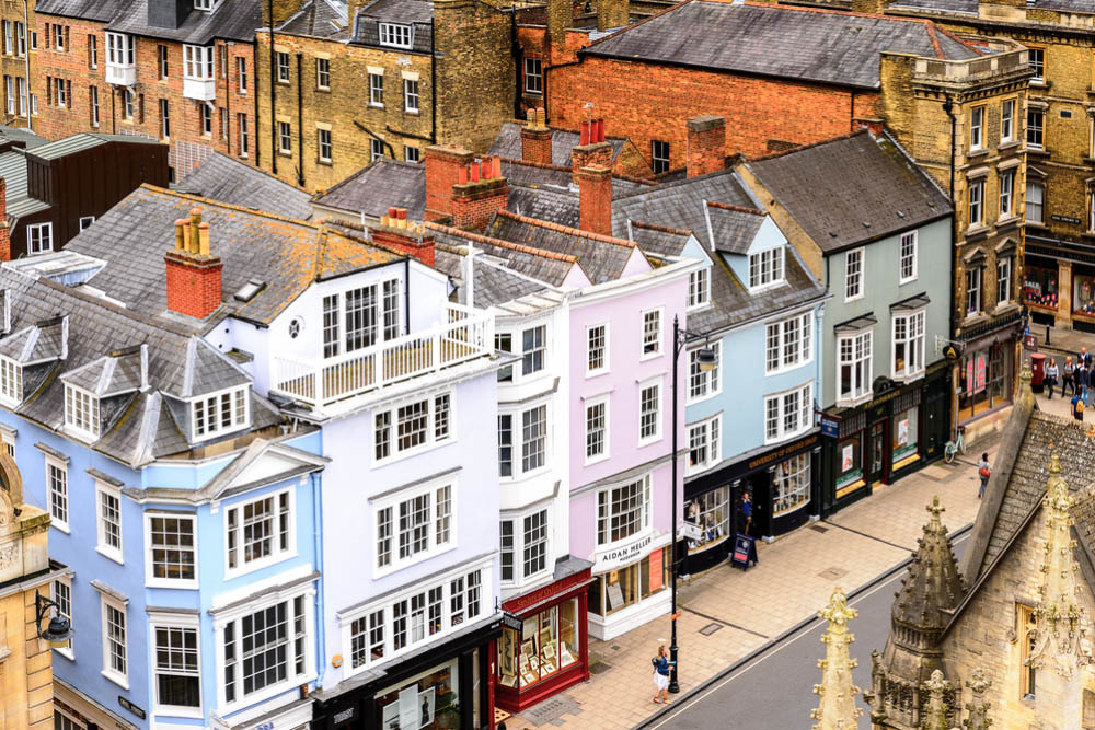aerial view of the coloured facades of broad street oxford