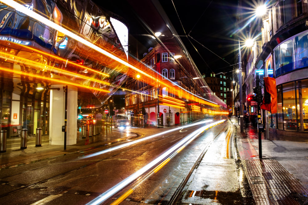 time-lapse lighting on the streets at night