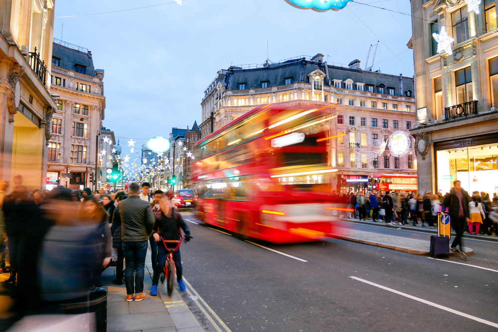 oxford street bustle and lights