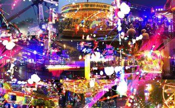 a colourful montage of the michaelmas fun fair in banbury