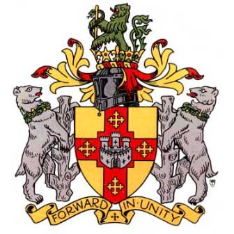 warwick's coat of arms with the motto forward in unity