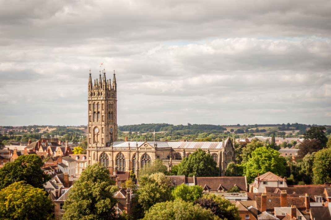 a view over warwick and the st. marks collegiate church
