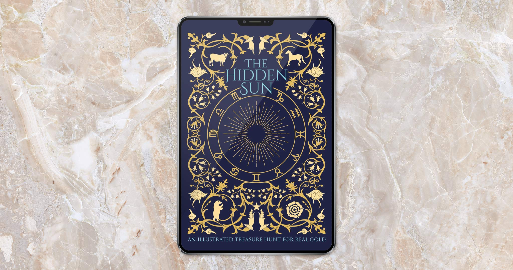 The Hidden Sun - An Illustrated Treasure Hunt for Real Gold eBook on an iPad
